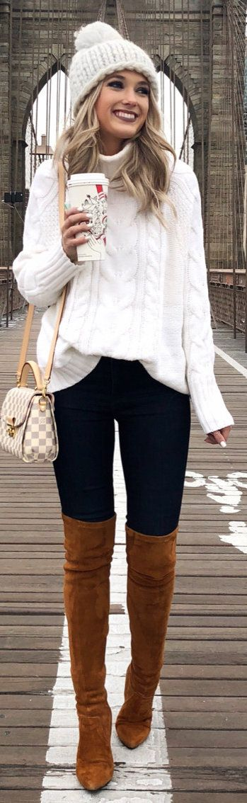 winter #outfits white knitted jacket and blue pants with