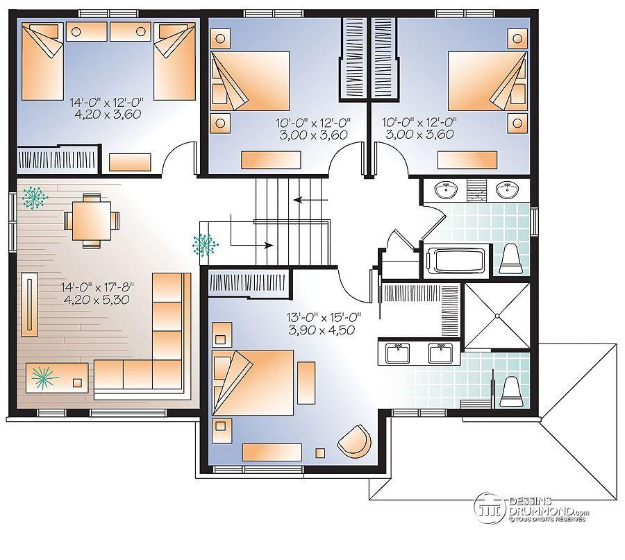 Détail du plan de Maison unifamiliale W3875-V1 house plan - plan maison france confort