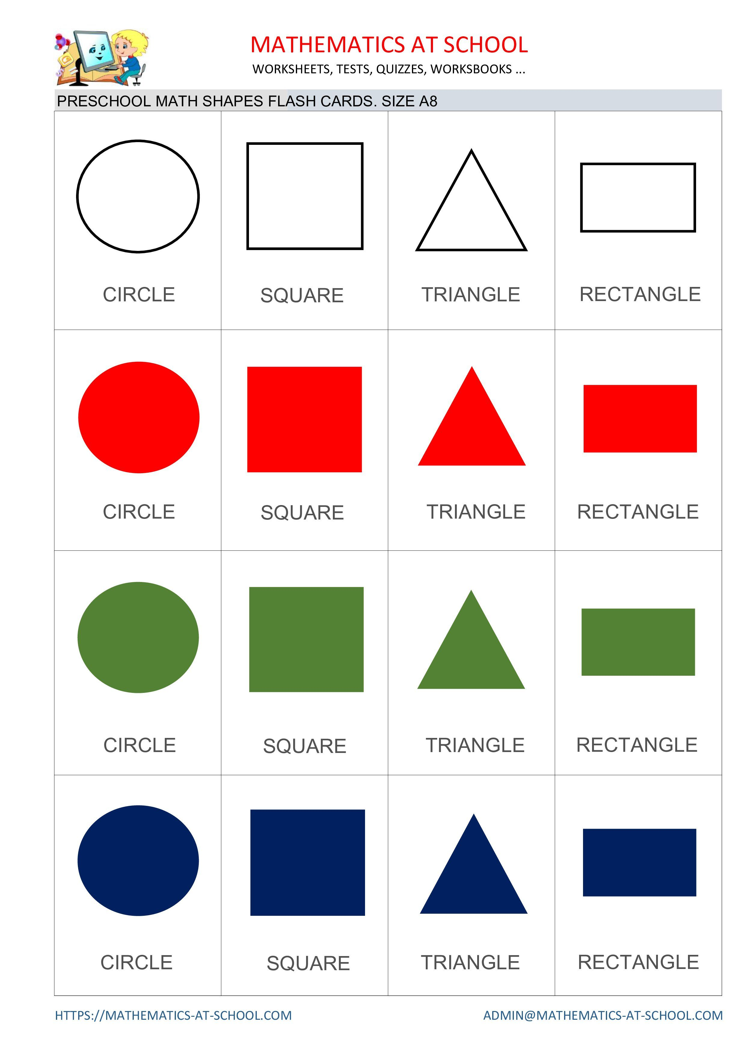 Preschool Math Flash Cards Shapes Circle Square