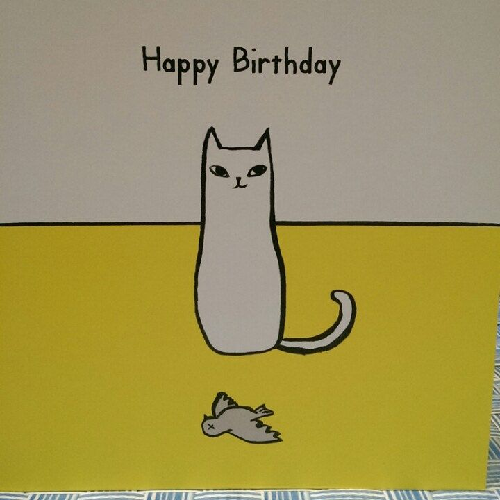 Funny Birthday Quotes For Neighbors: Cute And Funny Illustrated Cat BIRTHDAY Card