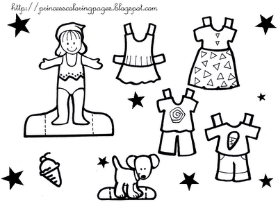 PAPER DOLL ON PRINCESS COLORING PAGES Free Colouring Pages
