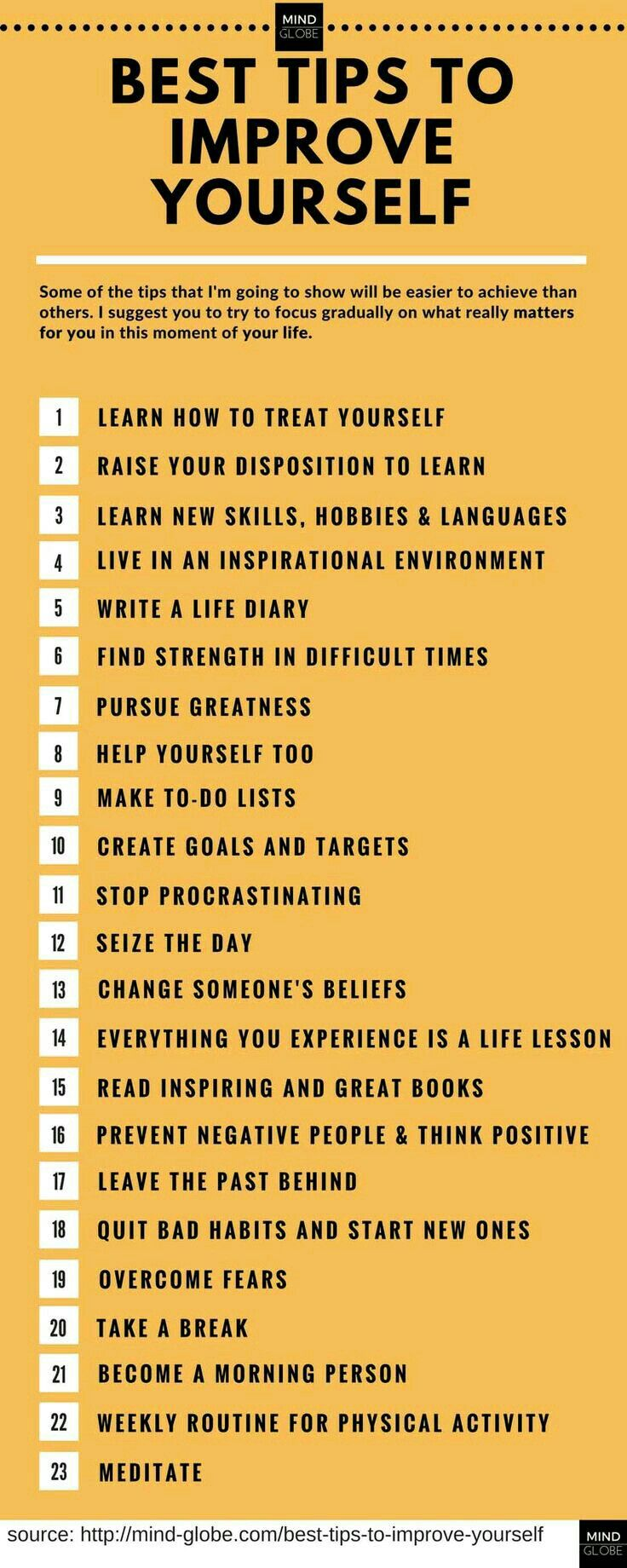 23 ways to improve yourself. self life inspiration