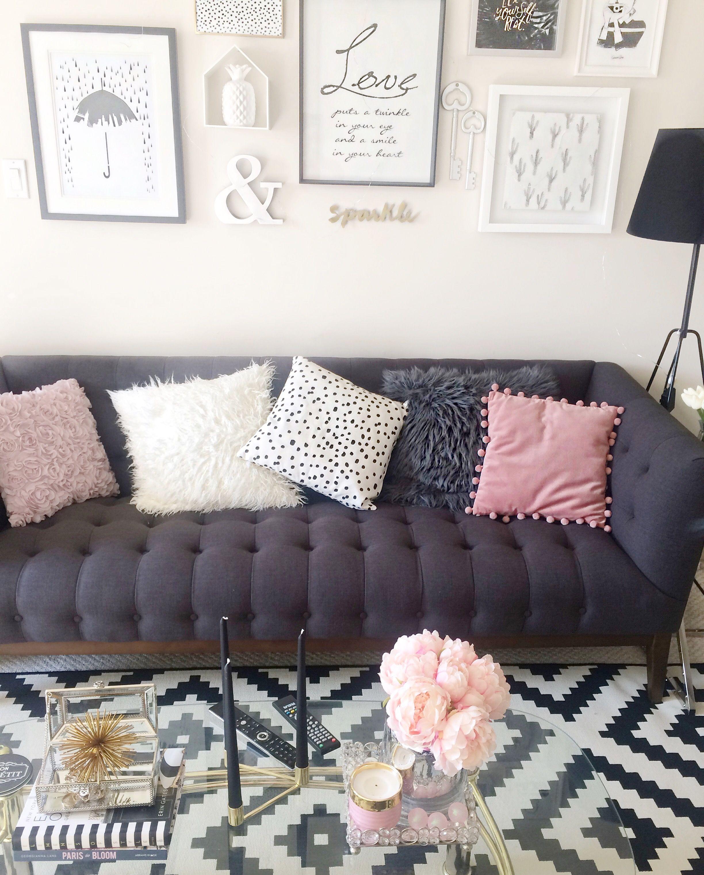 Ikea Rug Pink Grey Theme Black And White Living Room Indigo