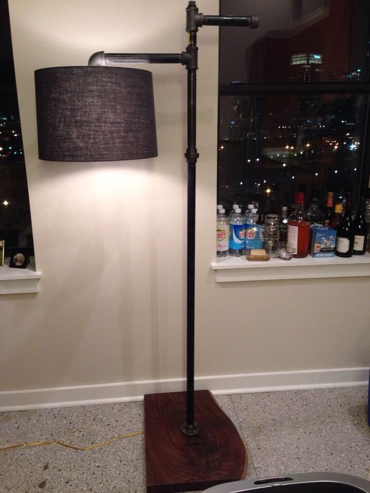 Black gas pipe floor lamp with ancient walnut base for Gas pipe lamp