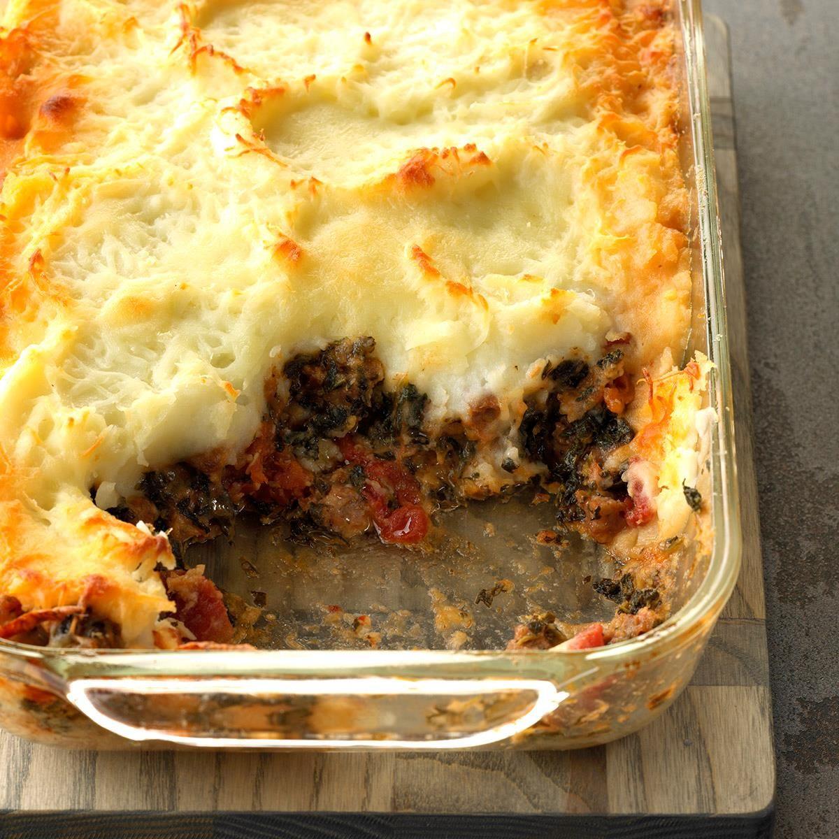 Spinach Beef Spaghetti Pie Recipe: Sausage Florentine Shepherd's Pie