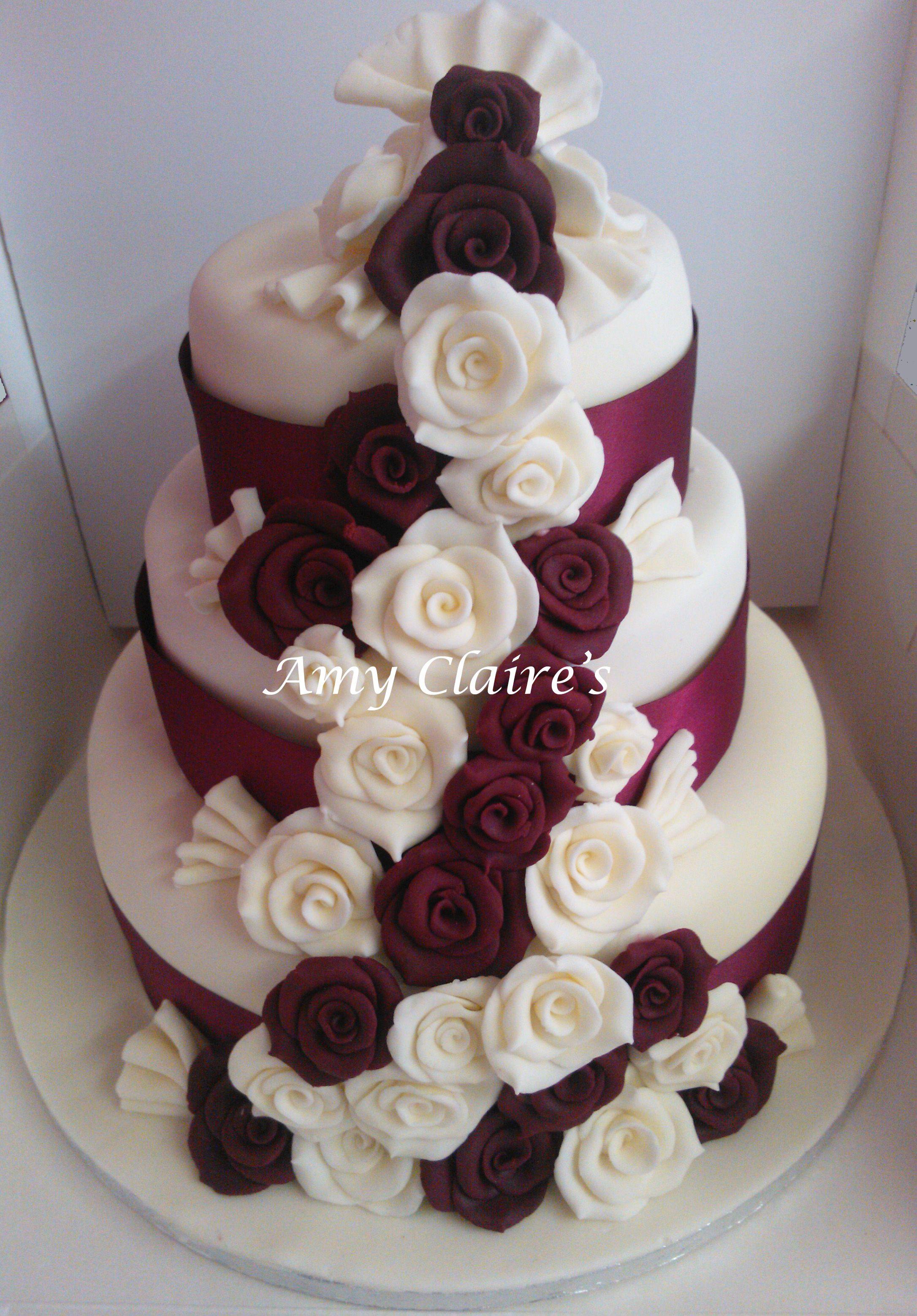 Ivory And Burgundy Three Tier Rose Cascade Wedding Cake