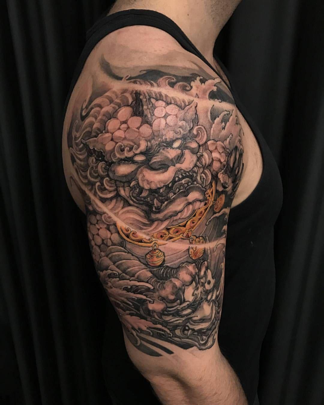 David Hoang On Instagram Back To Back Tiger Tattoo: Foodog And Hannya. #chronicink #asiantattoo #asianink