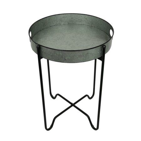 Rustic Galvanized Finish Metal Round Folding Tray Table Walmart