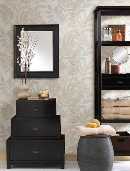 Tahiti Sage Tropical Wallpapering for Bathroom and Spa Wallpaper