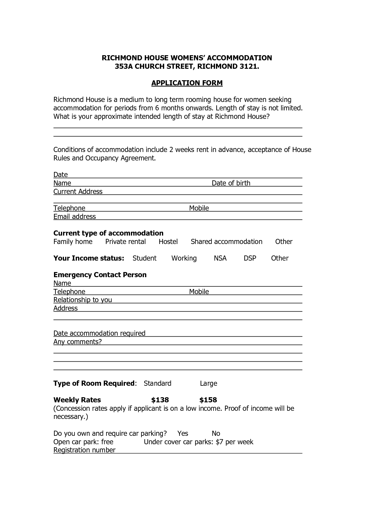 rental application for house