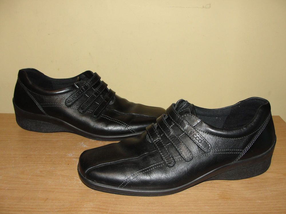 ECCO Womens Shoes Black Leather 3-Strap Velcro Sport Loafers Comfort 41/10-