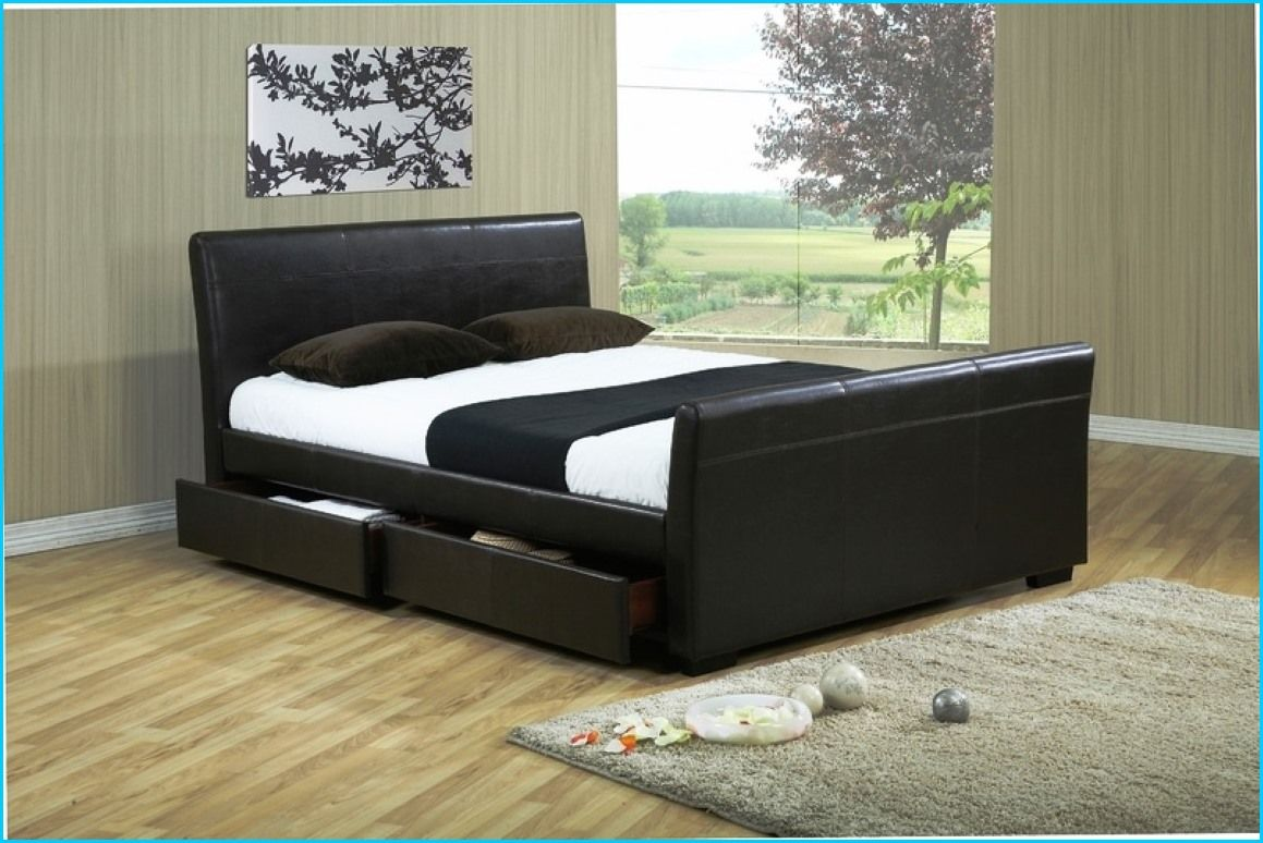 king size sleigh bed with drawers Leather king size bed