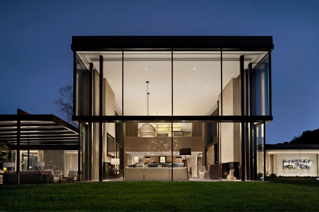double volume clg. for living area (upper lots?) - all glass ...