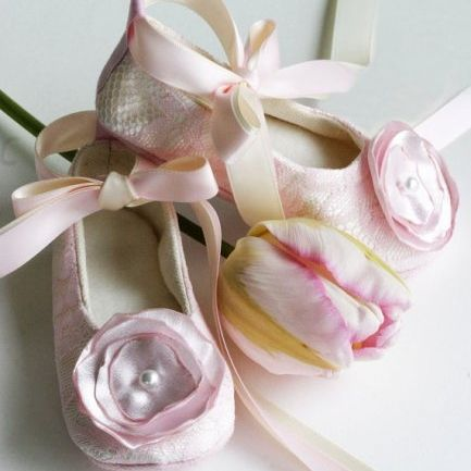 Off white satin with pink lace flower girl ballet slippers baby flower girl shoes couture ballet slipper toddler shoe pink lace on off white satin with flower 14 colors baby sizes too baby souls mightylinksfo