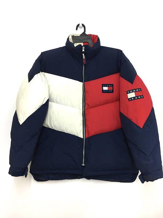 Rare!! Vintage 90s TOMMY HILFIGER Puffer Jacket Nice Design Color Block  Large Size on tag bbda981e9