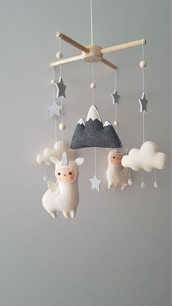 Llama Crib Mobile Nursery, Unique Mobile, Llama Mobile, Baby Mobile, Llamacorn Mobile, Cloud Stars Baby Mobile, Unicorn Baby Mobile
