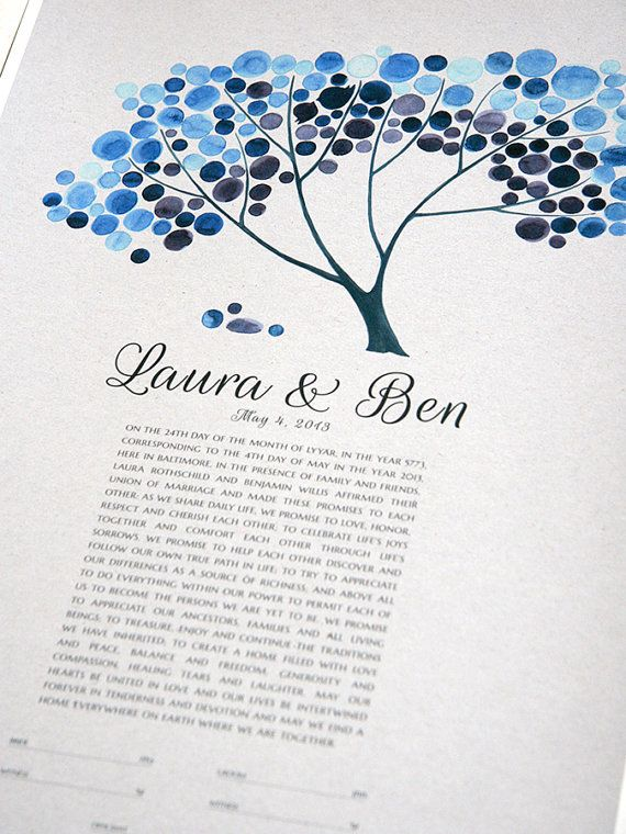 Personalized Ketubah Tree of Life and Love Birds by OnceUponaPaper