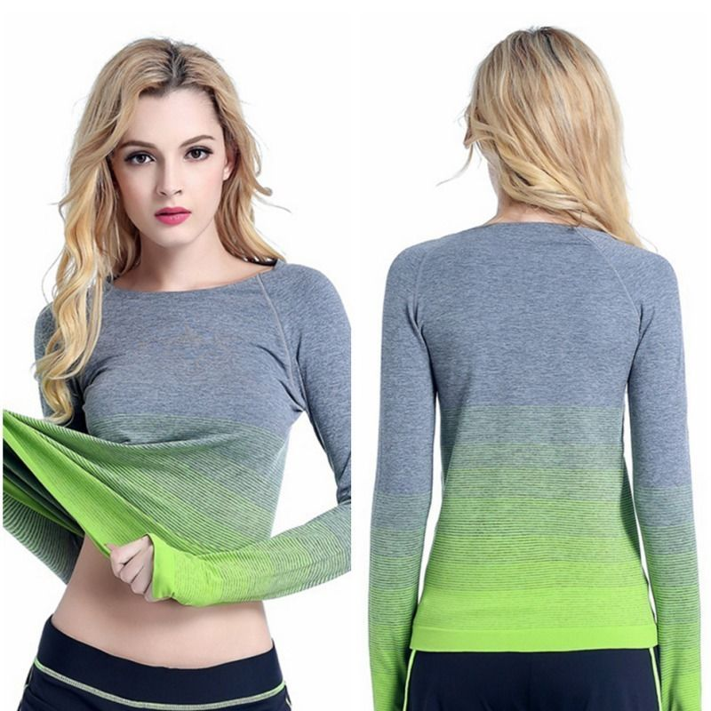a7a44421 Womens Long Sleeve Fitness Gym Yoga Running T Shirt Quick-Dry Active Sports  Tops