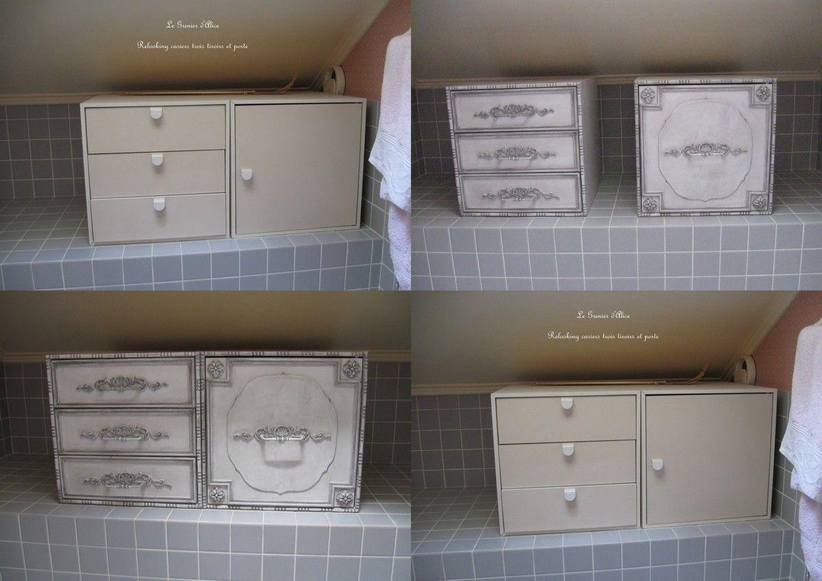 petit meuble de salle de bain en stratifié blanc. Relooking