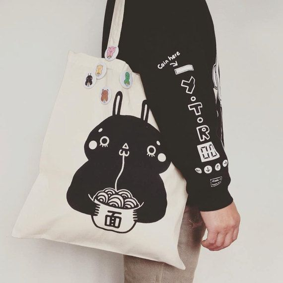 RAMEN FRIENDS bunny tote bag by YOYOTHERICECORPSE on Etsy