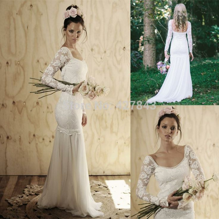 Simple Square Neck Sheath Chiffon Bohemian Lace Long Sleeves Wedding Dress Boho Wedding Dress 2014