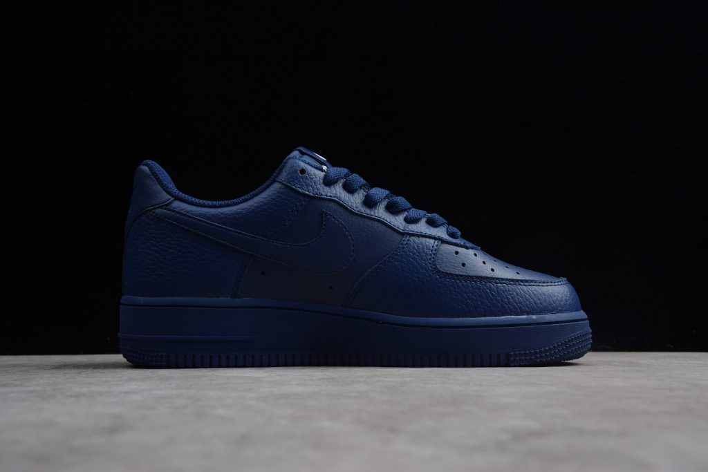 sale retailer 9127a 967e0 Nike Air Force 1  07 Low Emblem Leather Blue Sneakers-1