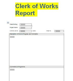 clerk of works weekly report format doc