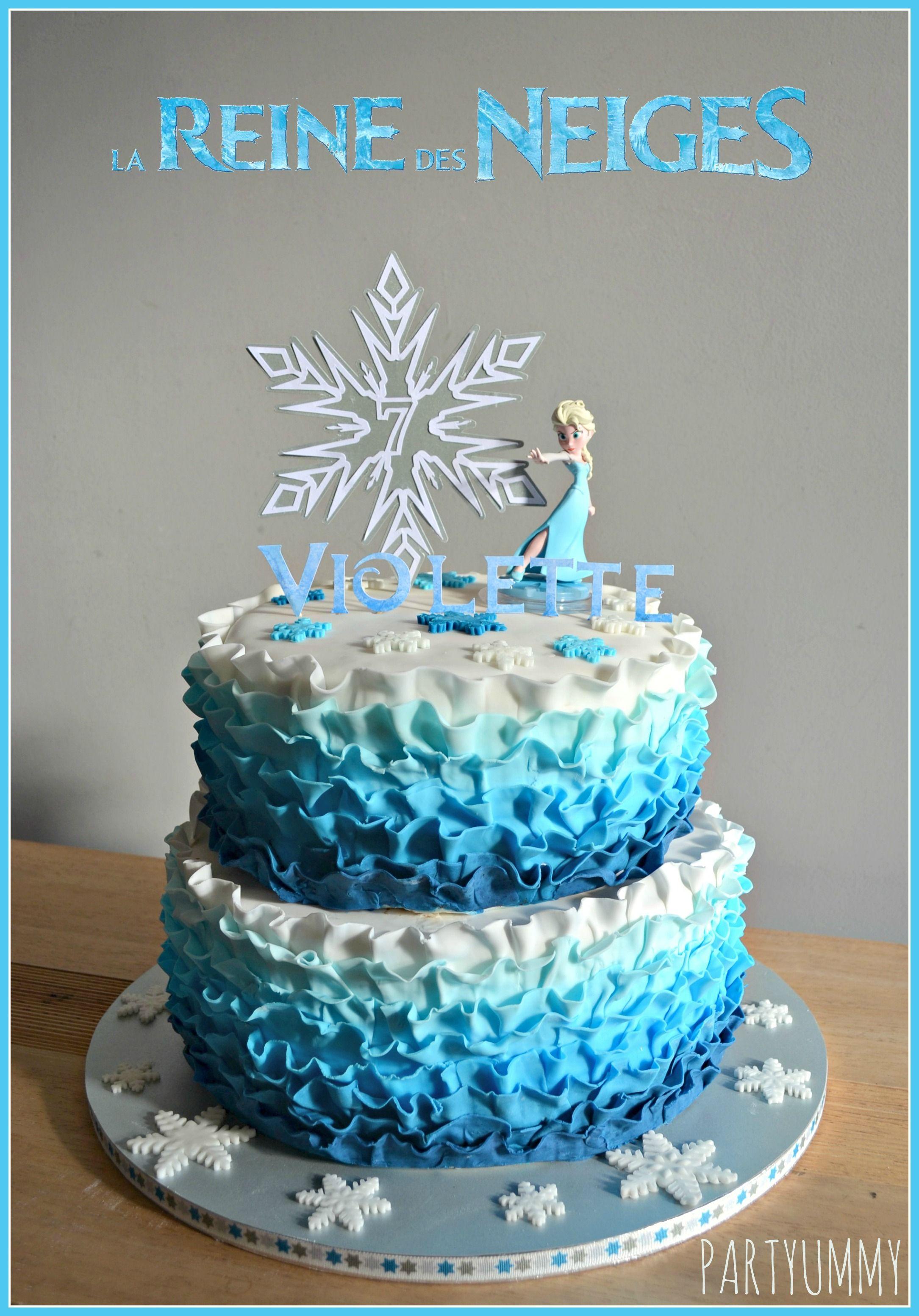 Frozen Elsa Ruffle Cake Tuto available on httppartyummycomcms
