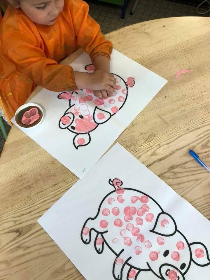 varkentjes stempelen met peuters varken kleurplaat