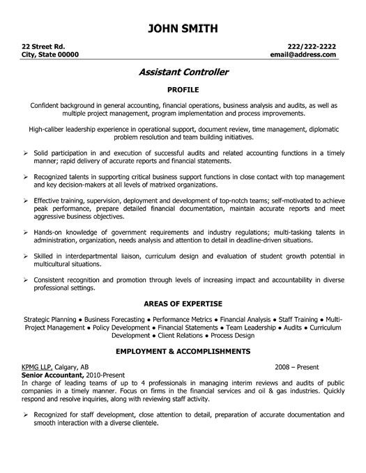 Assistant Controller Resume Example -    topresumeinfo - employment objectives