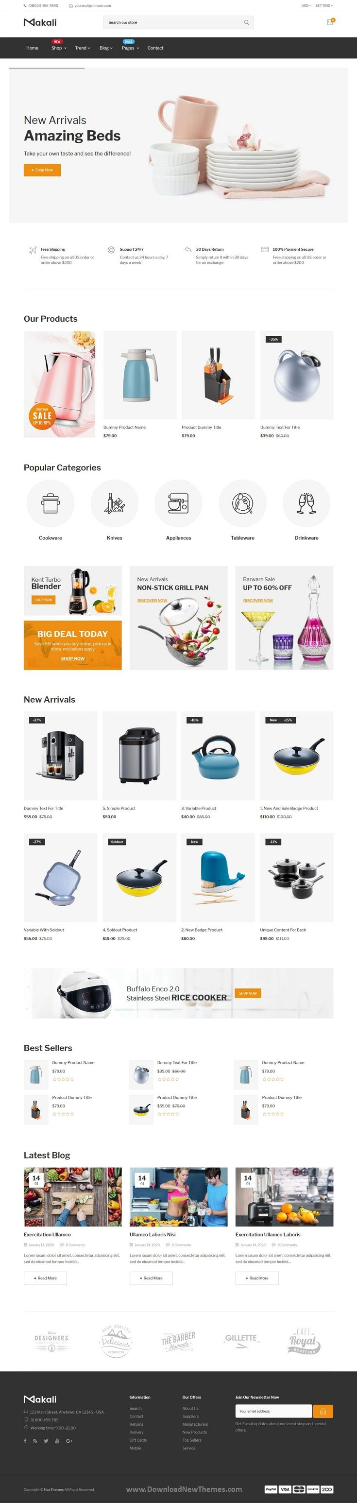 Kitchenware Shop Multipurpose Shopify Theme in 2020
