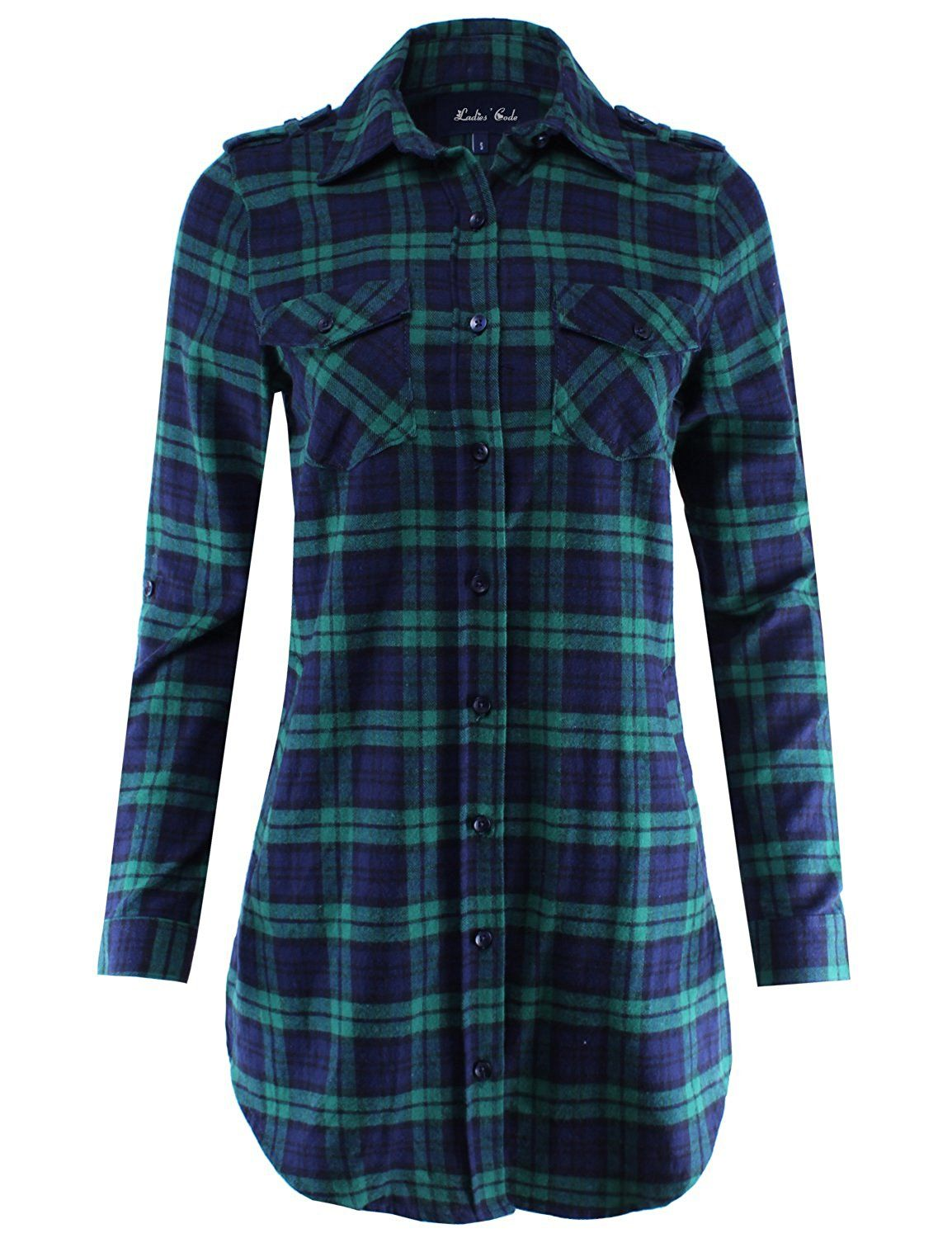 Flannel dress for women  Ladiesu Code Womenus Flannel Plaid Shirt Dress with Roll Up Sleeve