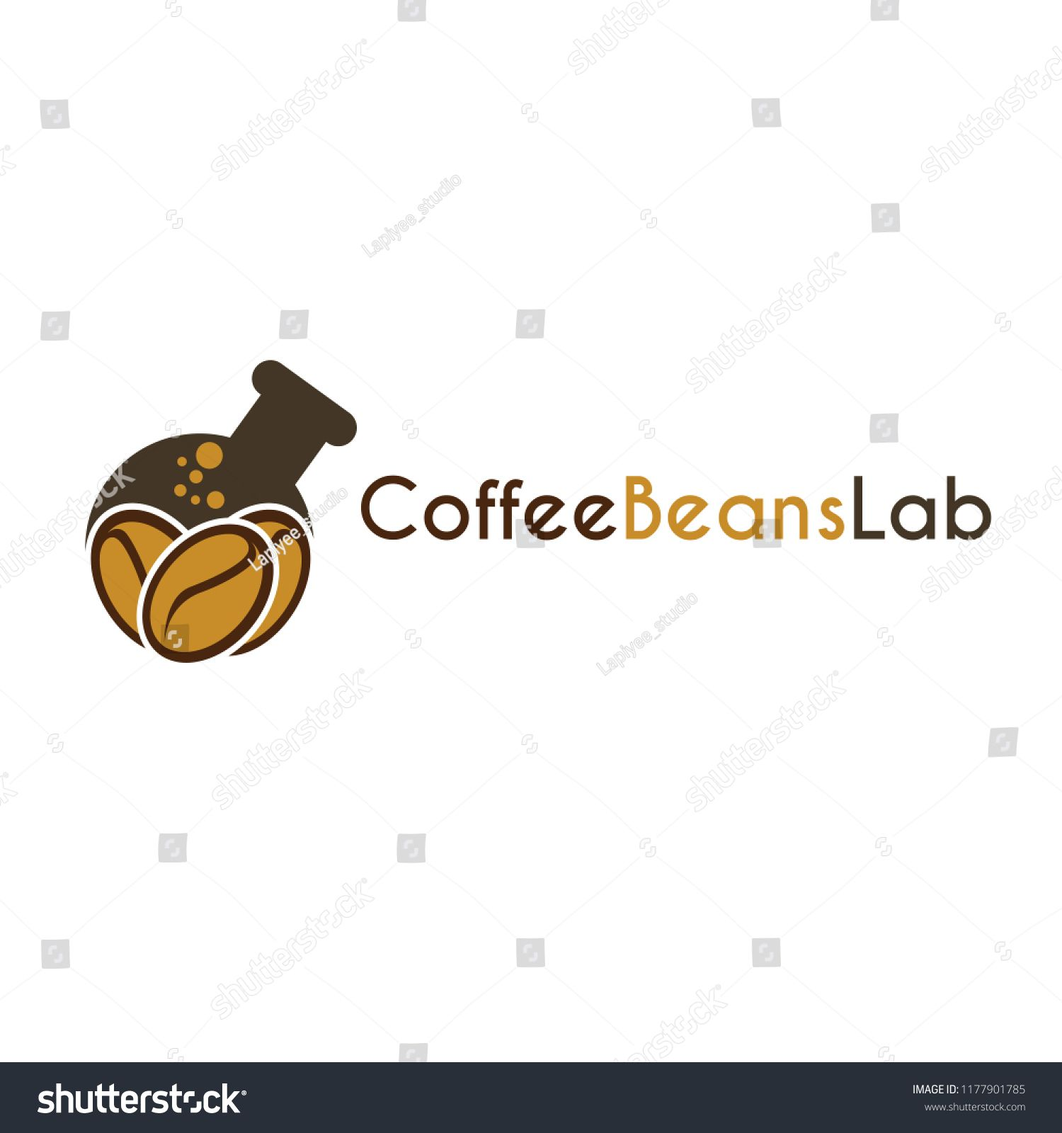 Vector icon symbols Coffee Beans Lab with Coffee beans and bottle