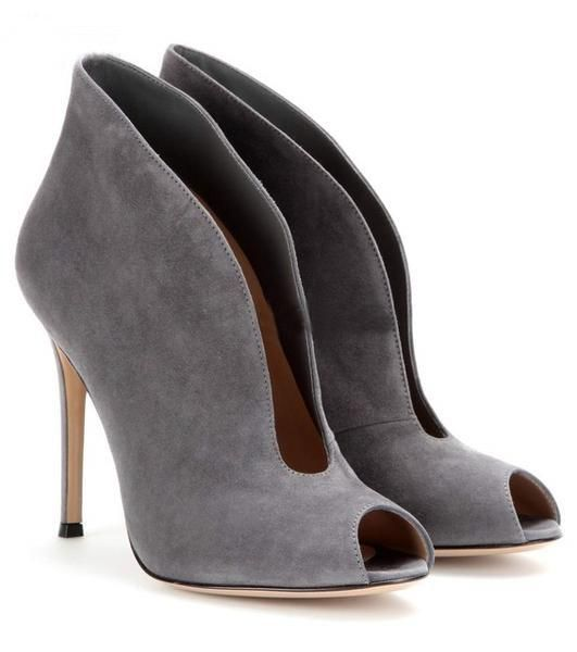 Open Toe Suede Deep V Front Ankle Boots