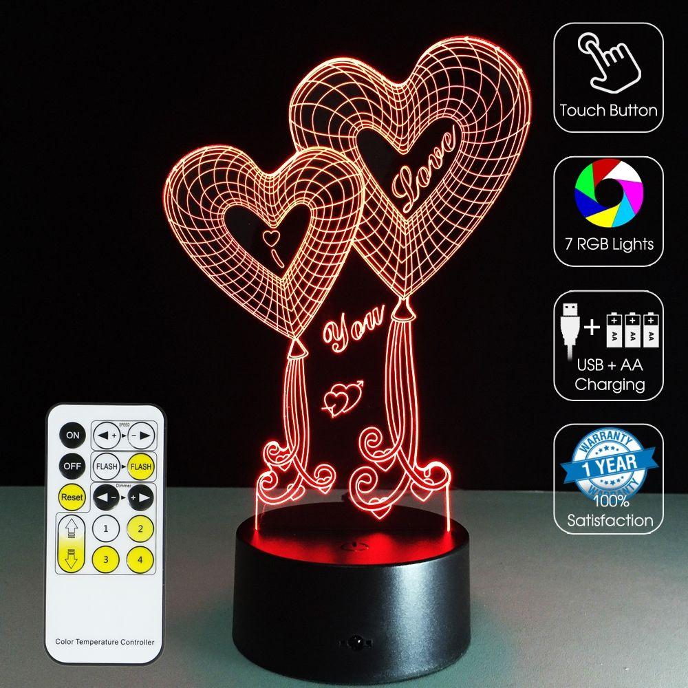 3d Led Optical Illusion Lamp Valentine Hearts Optical Illusions 3d Optical Illusions Illusions