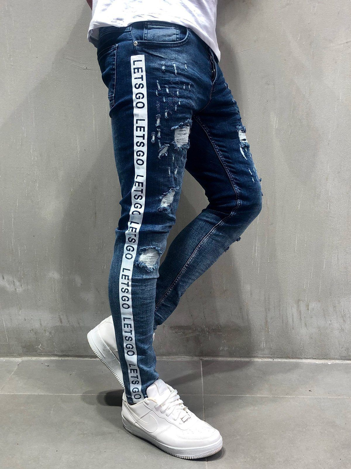 2dbe8e851b75 Random Ripped Jeans with Side Stripes - Blue