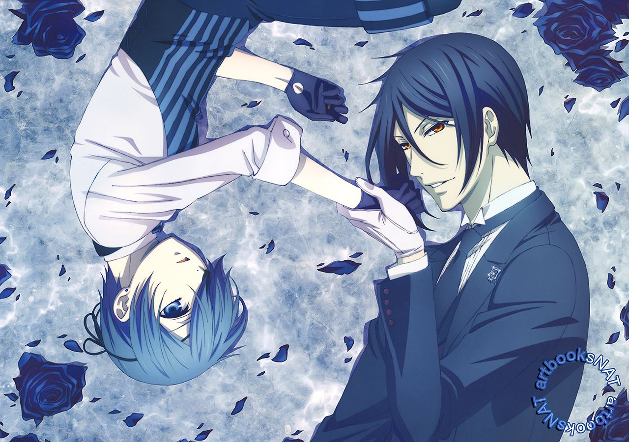 "artbooksnat: "" Black Butler (黒執事) Beautifully blue new art of Ciel and Sebastian for Kuroshitsuji Book of the Atlantic on this Newtype Romance SPRING 2017 (Amazon Japan 