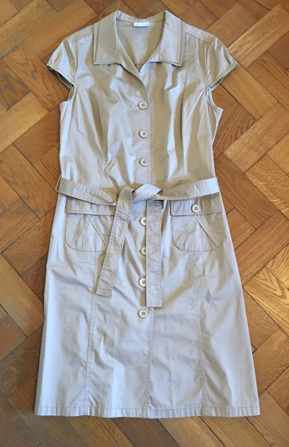 Frank Walder Kleid 10 L beige Hemdblusenkleid 10 10 M XL  eBay