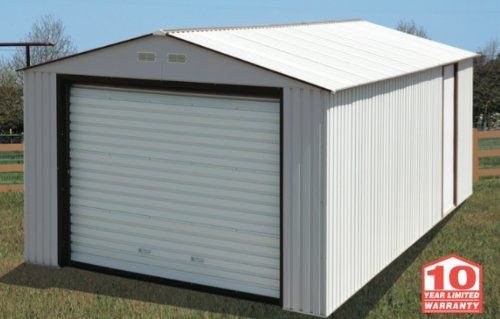 Duramax Imperial Metal Garage 12 X 20 Off White With Brown Click For Special Deals Duramax Sheds Metal Garages Shed