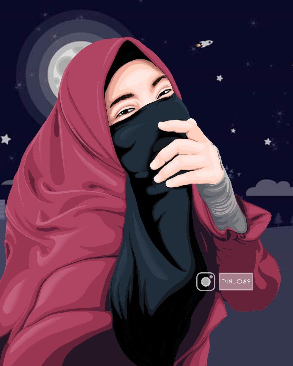 Jilbab Vector Hijab Pin Kartun Gambar Kartun Gambar