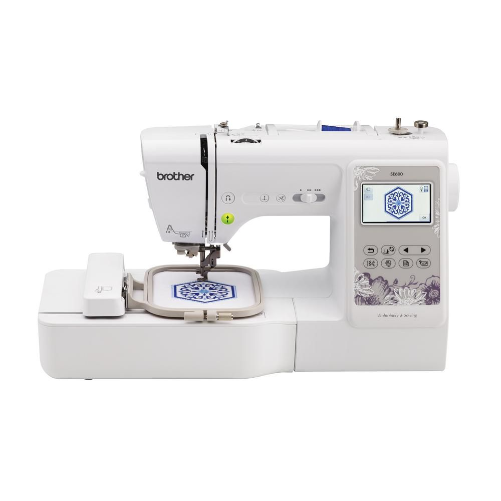 Brother 2 In 1 103 Stitch Embroidery Machine With Sew Smart Color Touch Lcd Screen Se600 The Home Depot Computerized Sewing Best Embroidery Machine Machine Embroidery