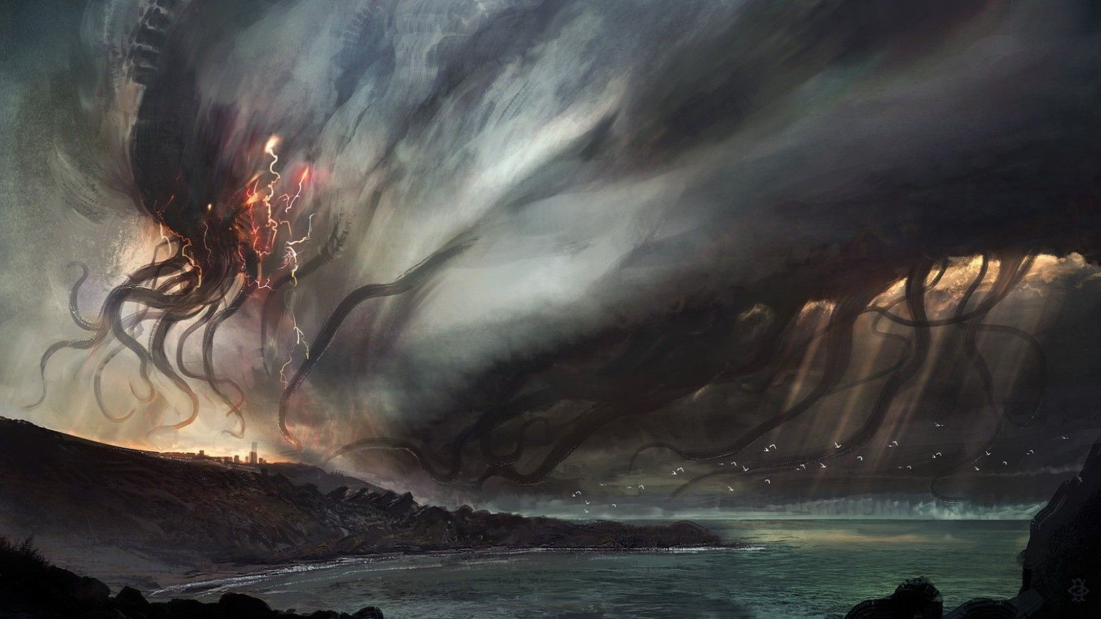 Download Hd Wallpapers Of 120599 Digital Art Painting Movies Cthulhu Creature Deviantart Free Download High Quality And Dark Fantasy Art Painting Cthulhu