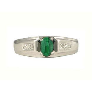Men's Malachite and Diamond Rings, White Gold Jewelry Available Exclusively at Gemologica.com