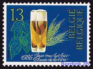 Year of the Belgian Beer - Glass of beer, barley and hops - 2230