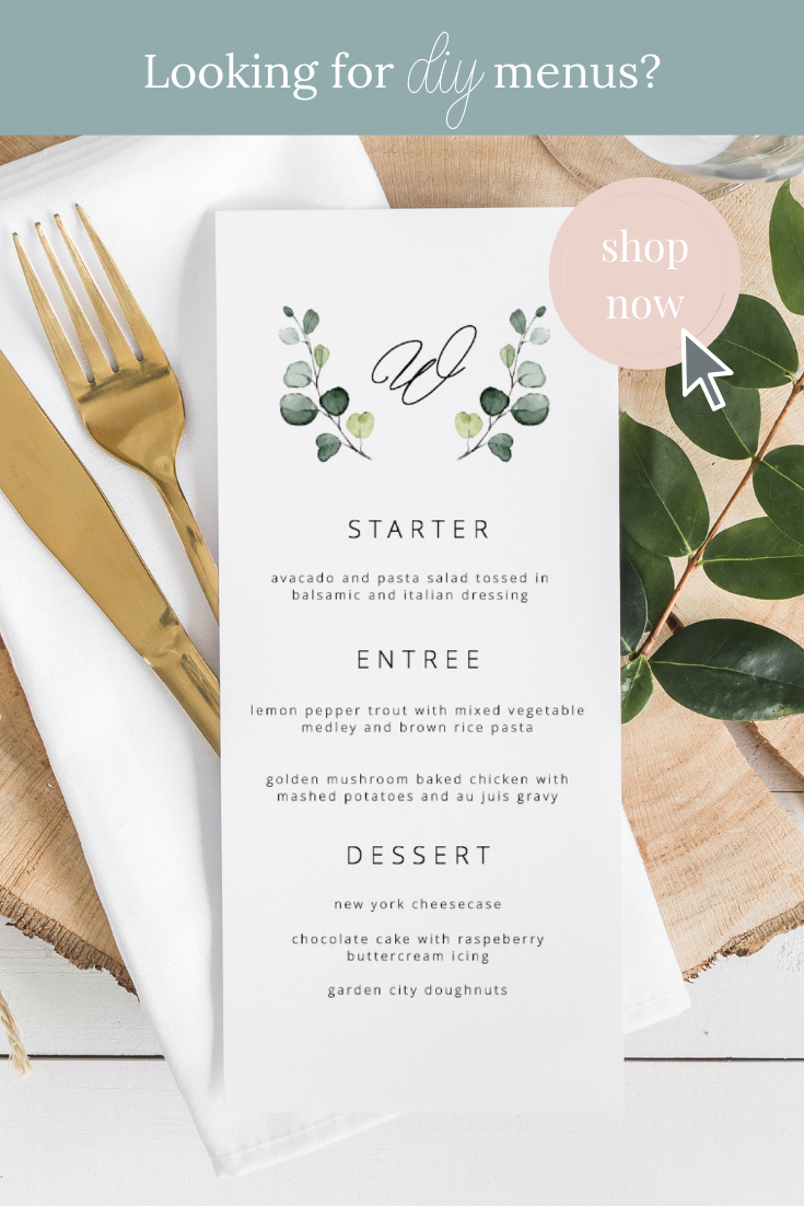 Shop Our Selection Of Diy Dinner Menus And Wedding Menus For Your Special Event Or Wedding Add An Elegant Touch To Your Wedding Ta Dinner Menu Diy Dinner Menu