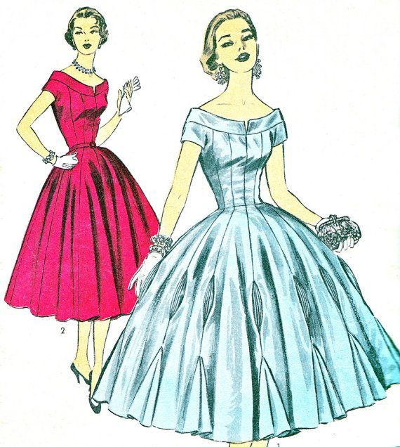 1950s Dress Pattern Advance 113 Scoop Neck Princess Seam Ballroom ...