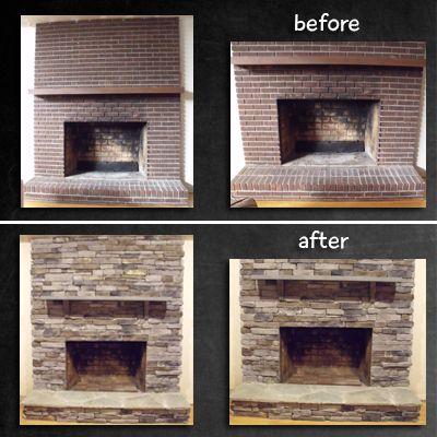 Fireplace Remodel Stone Veneer Over Brick Brick Fireplace