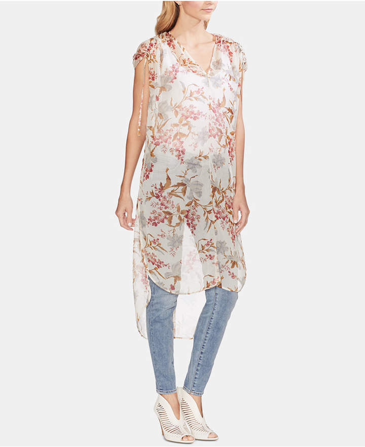 51a9f6ffe93 Vince Camuto Sheer Drawstring-Shoulder Long Tunic Top - White XXS in ...