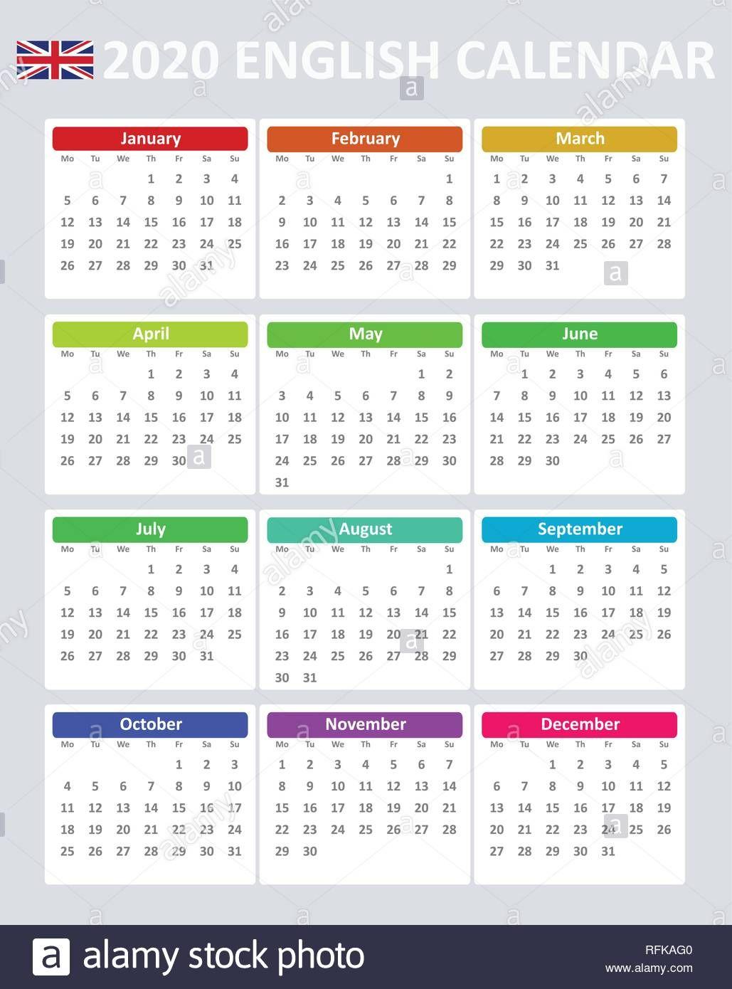 Ano 2020 Calendario.Descargar Este Vector Simple Calendario Vectorial Editable