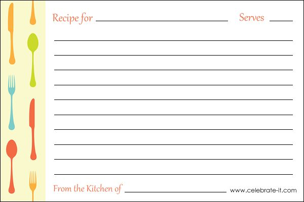 free-printable-recipe-card ESL Pinterest Recipe cards, Free - card word template